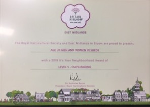 Outstanding certificate in Britain in Bloom awards