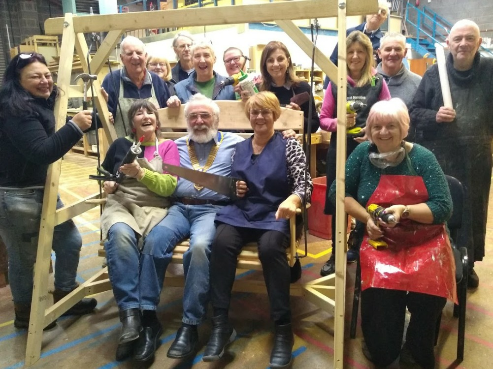 Men & Women from the Charnwood Shed in Loughborough with Michael Charlesworth, President of Loughborough Beacon Rotary Club