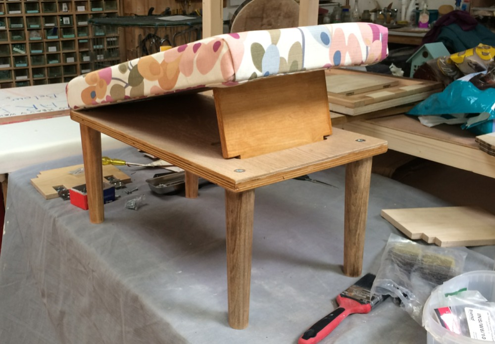 Footrest made by Trish and Deirdra to raise funds for Charnwood Shed